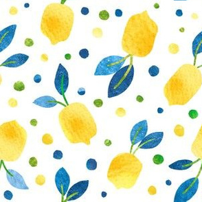 watercolor lemons on white large scale