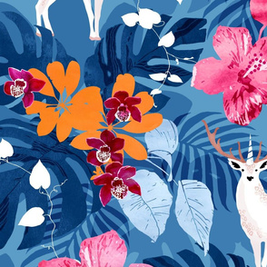 Tropical surrealism unicorn deer