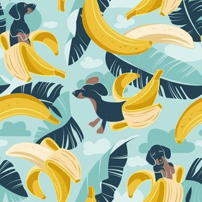 Small scale // Surrealistic tropical Dachshund bananas // aqua background navy blue dogs and banana fruit leaves