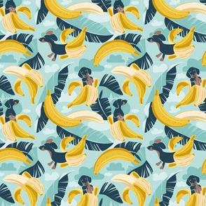 Tiny scale // Surrealistic tropical Dachshund bananas // aqua background navy blue dogs and banana fruit leaves