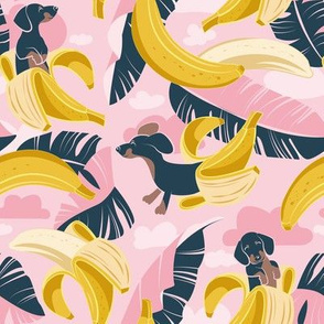 Small scale // Surrealistic tropical Dachshund bananas // pastel pink background navy blue dogs and banana fruit leaves