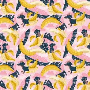 Tiny scale // Surrealistic tropical Dachshund bananas // pastel pink background navy blue dogs and banana fruit leaves