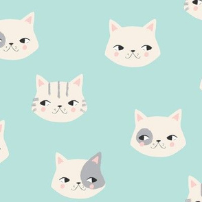 kitty cats on aqua
