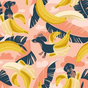 Small scale // Surrealistic tropical Dachshund bananas // coral flesh background navy blue dogs and banana fruit leaves