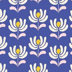 Retro Folk Flowers in blue
