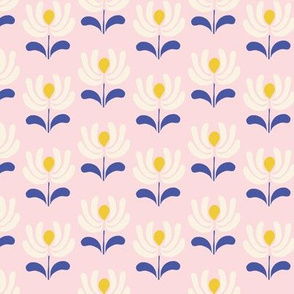 Retro Folk Flowers in pink small scale