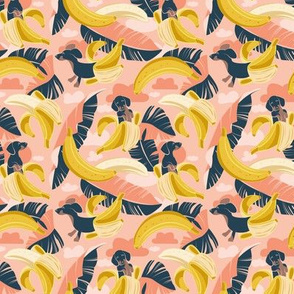 Tiny scale // Surrealistic tropical Dachshund bananas // coral flesh background navy blue dogs and banana fruit leaves
