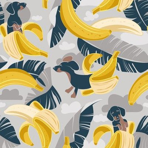 Small scale // Surrealistic tropical Dachshund bananas // grey background navy blue dogs and banana fruit leaves