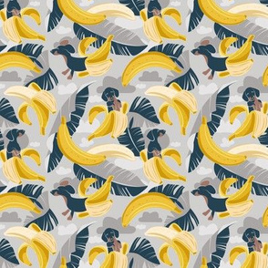 Tiny scale // Surrealistic tropical Dachshund bananas // grey background navy blue dogs and banana fruit leaves