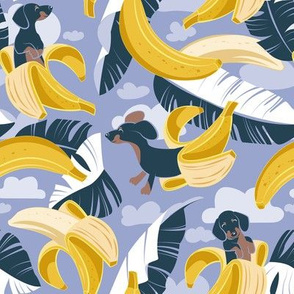 Small scale // Surrealistic tropical Dachshund bananas // indigo blue background navy blue dogs and banana fruit leaves