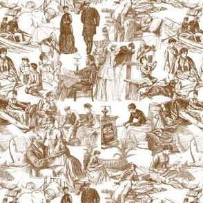 Little Women Toile Fabric Design