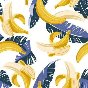 Small scale // In the shade of banana trees // white background violet and navy blue leaves
