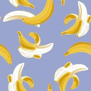 Small scale // Flying bananas // indigo blue background yellow fruit