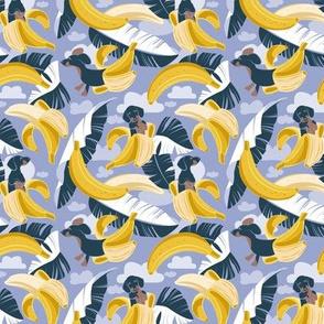 Tiny scale // Surrealistic tropical Dachshund bananas // indigo blue background navy blue dogs and banana fruit leaves
