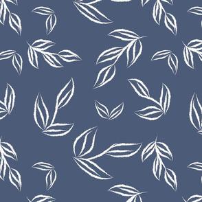 tossed leaves blue