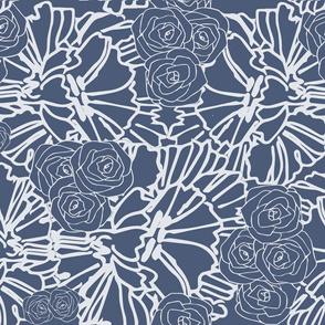 blue crinkle and rose print