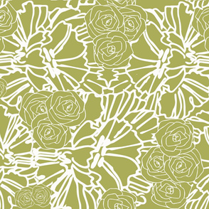 Chartreuse crinkle and rose print