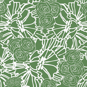 fern crinkle and rose print