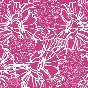 fuschia crinkle and rose print