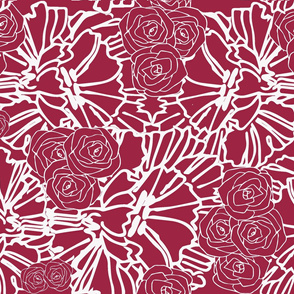 red crinkle and rose print