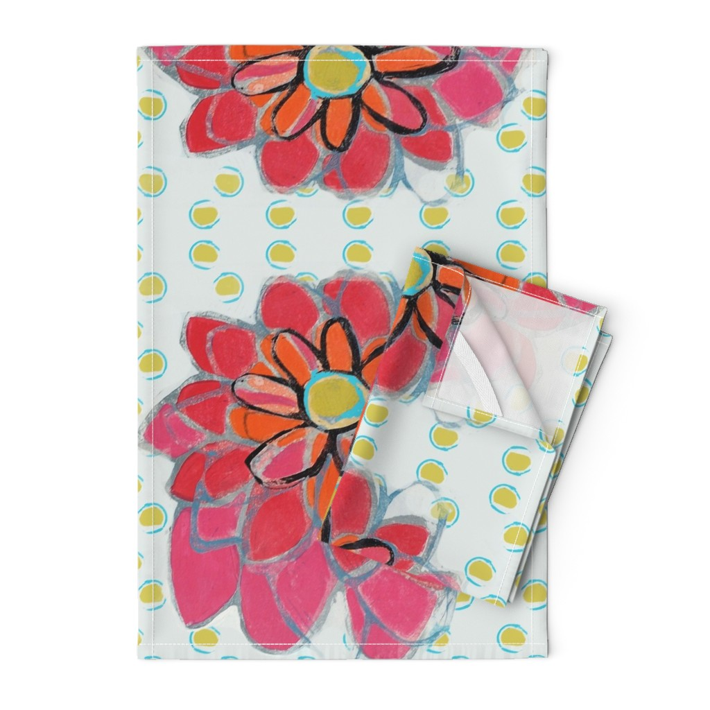 Orpington Tea Towels featuring Pink Flower Green Polkadots by maria_pezzano