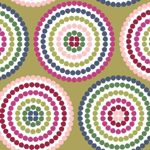 mosaic circles on chartreuse