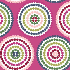 mosaic circles on fuschia