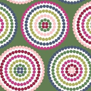 mosaic circles on green