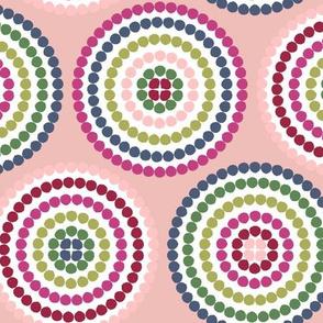 mosaic circles on peach