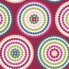 mosaic circles on red