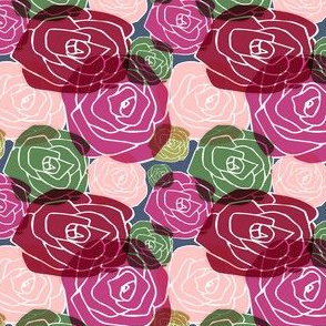 overlapping roses on blue