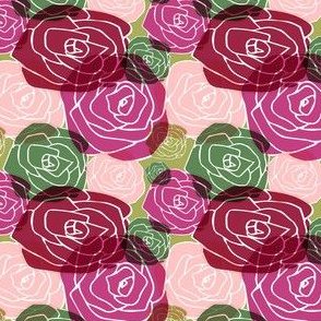 overlapping roses on chartreuse