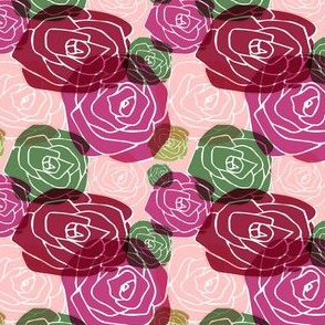 overlapping roses on peach