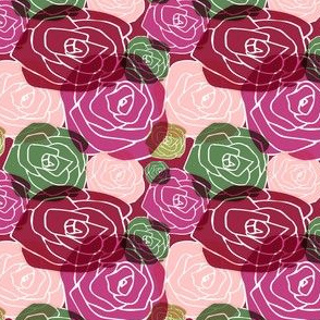 overlapping roses on red
