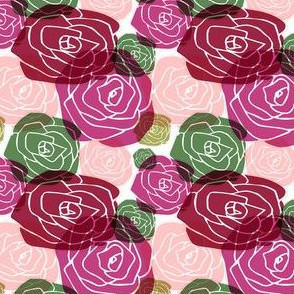 overlapping roses on white