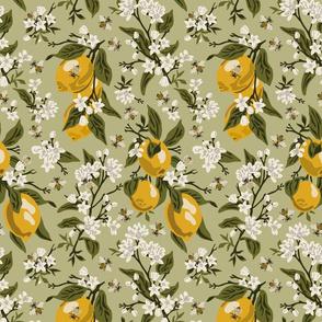 Bees & Lemons - Medium - Green - Green Leaves (color corrected 5/21)