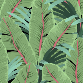 TROPICAL BANANA LEAVES black