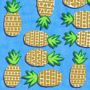 Pineapples on Blue - Textured