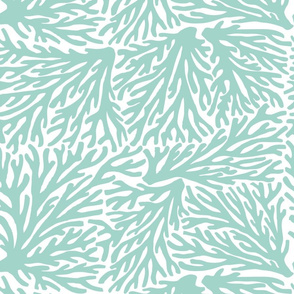 Coral Waves in Seafoam/White
