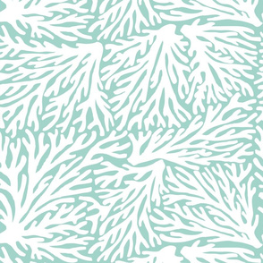 Coral Waves in White/Seafoam