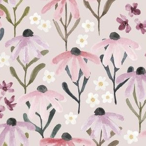 Medium // Hand Painted Lilac Wildflower Fields on Almost Mauve
