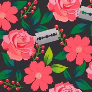 Pink Flowers and Blades on Dark Grey