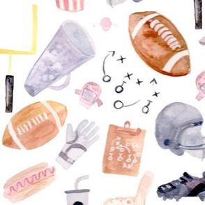 American Football Watercolor Pattern