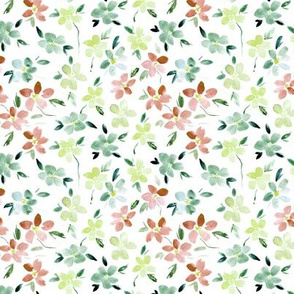 Ditsy Bloom in Sardegna - watercolor flowers for modern home decor bedding nursery dress - painted watercolour florals 324