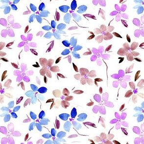 Bloom in Sardegna - blue, lilac, earthy - watercolor flowers for modern home decor bedding nursery dress - painted watercolour florals p324