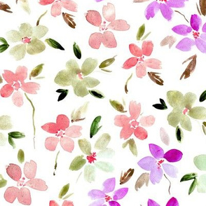 Bloom in Sardinia - watercolor flowers for modern home decor bedding nursery dress - painted watercolour florals