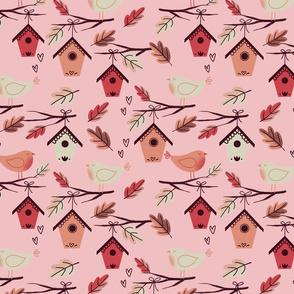 bird house on pink