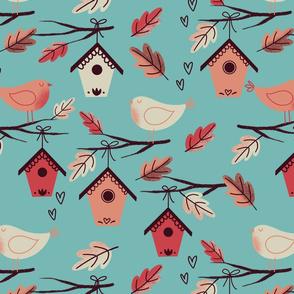 bird house autumn petrol