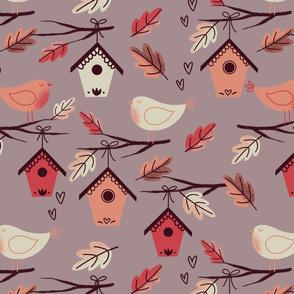 bird house and birds berry