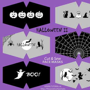 9 Halloween Face Mask Cut outs in Black Grey White